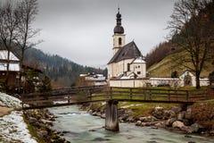 De Kerk van St Sebastian, Ramsau-bei Berchtesgaden Stock Afbeelding