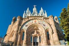 De kerk van Tibidabo in Barcelona, Spanje. Royalty-vrije Stock Foto