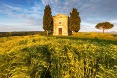 De kerk van Toscanië op het gebied van tarwe bij zonsondergang Stock Foto