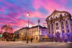 De Kerk van Ursuline van de Heilige Drievuldigheid, Ljubljan, Slovenië Royalty-vrije Stock Afbeeldingen