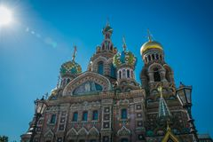 De Kerk van de Verlosser op Gemorst Bloed, St. Petersburg, Rusland stock afbeelding