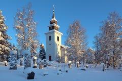 De Kerk van Vilhelmina in de winter, Zweden Stock Foto