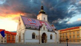 De kerk van Zagreb - St Teken royalty-vrije stock afbeelding