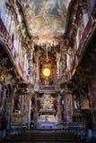De kerkbinnenland van rococo's, München stock foto's