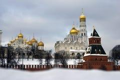 De kerken van Moskou het Kremlin De foto van de kleurenwinter Royalty-vrije Stock Foto's