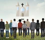 De kerkgod gelooft Jesus Pray Concept Stock Afbeeldingen