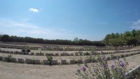 De kerkhoven van Britten en Anzac-van de militair in Gelibolu Canakkale 500k militair en civils gestorven bij Slag van Gallipoli  stock videobeelden