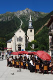De kerkpanorama van Chamonix Stock Foto's