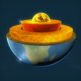 De kern van de aarde, de aarde van sectielagen en hemel Stock Foto