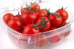 De kers van de tomaat in doos Royalty-vrije Stock Foto's