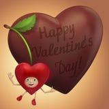 De kers van de valentijnskaart en chocoladeliefje Stock Foto's