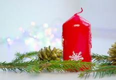 De kerstboom door Lichten wordt verfraaid stelt Giften die voor Royalty-vrije Stock Foto's
