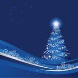 De kerstboom in een blauw wintergarden Royalty-vrije Stock Foto