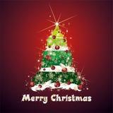 De kerstboom en huwt Kerstmiswensen Royalty-vrije Stock Afbeelding