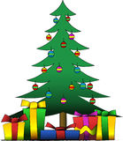 De kerstboom en stelt voor Stock Foto's