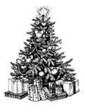 De kerstboom en stelt voor Vector uitstekende hand getrokken illustratie Royalty-vrije Stock Fotografie