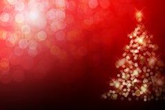 De kerstboom met defocused lichten. Royalty-vrije Stock Afbeelding