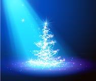 De kerstboom met defocused lichten Blauw stock illustratie