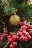De kerstboom met rode ballen en hulstbessen als decor en de lichten met exemplaar plaatsen op vage bokeh achtergrond in wandelgal Stock Foto's