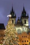 De Kerstboom met St Mary van Tyn-kerk in backgroud Royalty-vrije Stock Afbeeldingen