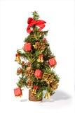 De kerstboom met stelt geïsoleerdg op wit voor royalty-vrije stock foto's