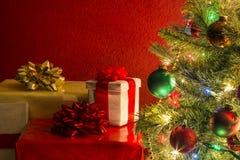 De kerstboom met stelt voor Royalty-vrije Stock Afbeeldingen