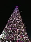 De kerstboom is prachtig verfraaid bij nacht stock foto's