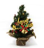 De kerstboom is prachtig verfraaid, het festival van het Nieuwjaar, witte achtergrond royalty-vrije stock foto