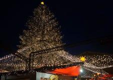 De kerstboom steekt omhoog Kerstmismarkt bij Nacht aan Stock Foto