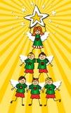 De Kerstboom van cherubijnen stock illustratie