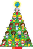 De Kerstboom van de Kinderen van het land Stock Afbeeldingen