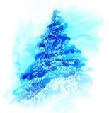 De Kerstboom van de waterverfillustratie in sneeuw Royalty-vrije Stock Afbeeldingen