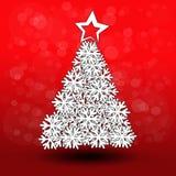 De Kerstboom van het document - sneeuwvlokdecoratie - EPS 10 Stock Fotografie