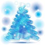 De Kerstboom van het gekrabbel in blauw Stock Foto's