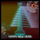 De Kerstboomblauw van het Techno Gelukkig Nieuwjaar Stock Foto