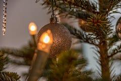 De Kerstboomverlichting bij de Nordmann-spar Royalty-vrije Stock Foto's