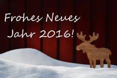 De kerstkaart met Jahr 2016 betekent Nieuwjaar en Amerikaanse elanden Stock Foto's