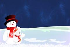 De Kerstkaart van de sneeuwman Stock Foto