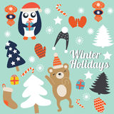 De kerstkaarten met leuke bomen, vuisthandschoenen en Kerstmisspeelgoed, pinguïn in de winter GLB met gift en het dansen dragen V royalty-vrije illustratie