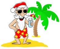 De Kerstman bij Kerstmis op vakantie bij het strand Stock Foto