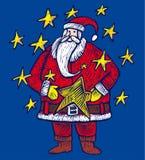 De Kerstman binnen sterren Stock Afbeelding
