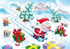 De Kerstman in de sneeuw vector illustratie