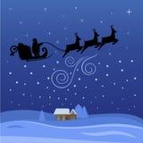 De Kerstman die door de nacht op Kerstmis vliegt vector illustratie