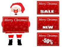 De Kerstman die een etiket Chrsistmas houdt Royalty-vrije Stock Foto's