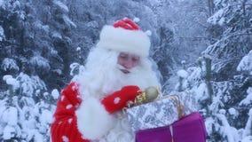 De Kerstman die een giftdoos dragen stock footage
