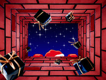 De Kerstman die giften werpt Stock Afbeeldingen