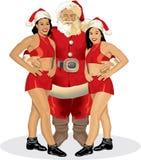 De Kerstman die twee gals omhelst Royalty-vrije Stock Fotografie
