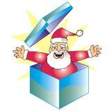 De Kerstman in een doos Stock Afbeeldingen