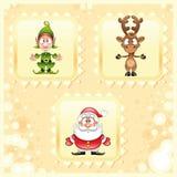 De Kerstman, Elf, Rudolph Stock Foto's