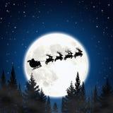 De Kerstman en deers. Vector Illustratie